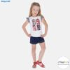 Conjunto camiseta y shorts denim niña
